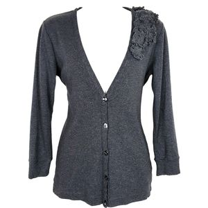 J Crew Cardigan V Sweater Floral Small Gray